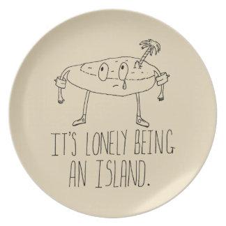Isla del dibujo animado plato de comida