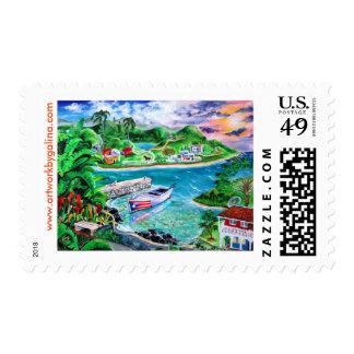 Isla Del Encanto - PR Art by Galina - Postage Stamps
