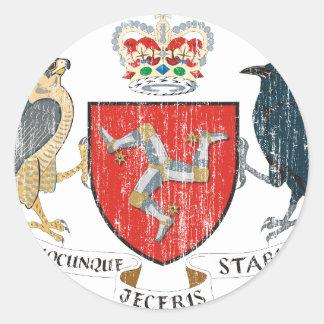 Isla del escudo de armas de Mann Pegatina Redonda