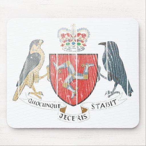 Isla del escudo de armas de Mann Tapete De Raton