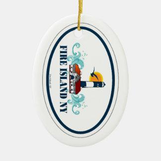 Isla del fuego adorno navideño ovalado de cerámica