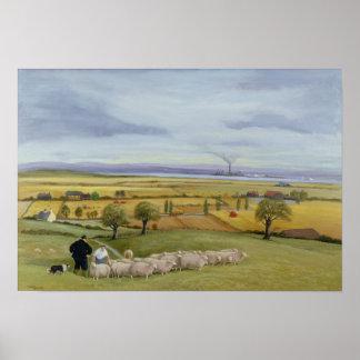 Isla del granjero de las ovejas de Sheppey Póster