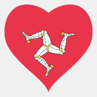 isla del hombre calcomanía de corazón personalizadas