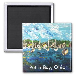 Isla del lago Erie de la Poner-n-Bahía que pinta Imán Cuadrado