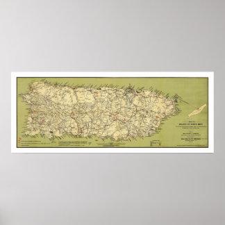 Isla del mapa 1900 de Puerto Rico Póster