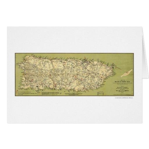 Isla del mapa 1900 de Puerto Rico Tarjeta De Felicitación