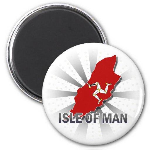 Isla del mapa 2,0 de la bandera del hombre imán redondo 5 cm