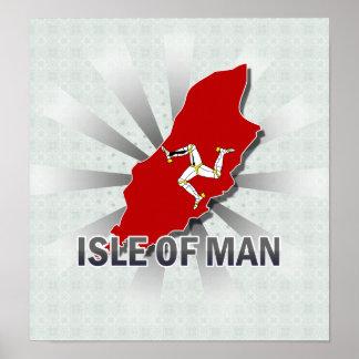 Isla del mapa 2,0 de la bandera del hombre poster