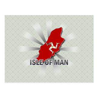 Isla del mapa 2,0 de la bandera del hombre postales