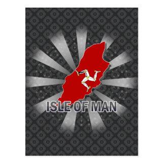 Isla del mapa 2,0 de la bandera del hombre tarjetas postales