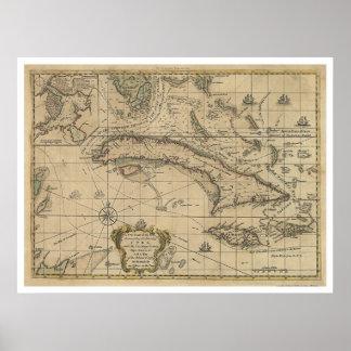 Isla del mapa de Cuba - 1762 Poster