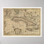 Isla del mapa de Cuba - 1762 Póster