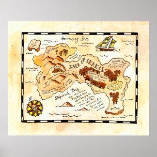 Isla del mapa del tesoro de la ocasión póster