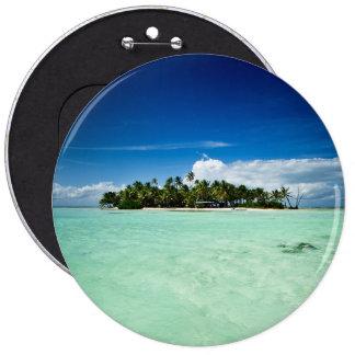 Isla del Pacífico con el botón de las palmeras Pin Redondo De 6 Pulgadas