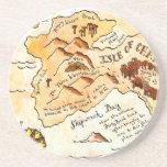 Isla del práctico de costa del mapa del tesoro de  posavasos personalizados