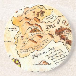 Isla del práctico de costa del mapa del tesoro de  posavasos diseño
