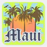 Isla del recuerdo de Maui Hawaii Calcomanía Cuadradas