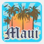Isla del recuerdo de Maui Hawaii Calcomanías Cuadradases