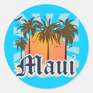 Isla del recuerdo de Maui Hawaii Pegatina Redonda