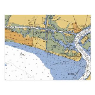 Isla del roble, postal náutica de la carta del NC
