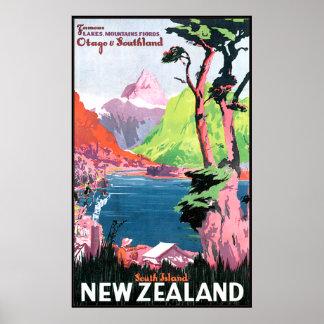 Isla del sur Nueva Zelanda Póster