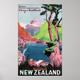 Isla del sur Nueva Zelandia, VI de Flords Otago So Póster
