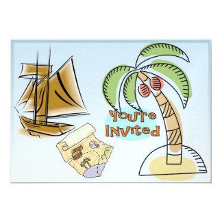 """Isla del tesoro invitación 5"""" x 7"""""""