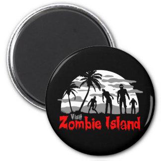 Isla del zombi de la visita imán redondo 5 cm