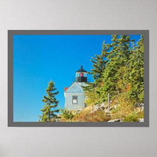 Isla desierta baja Maine del soporte del faro del Poster