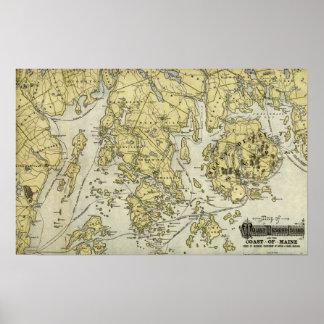 Isla desierta del soporte y costa del mapa de Main Póster
