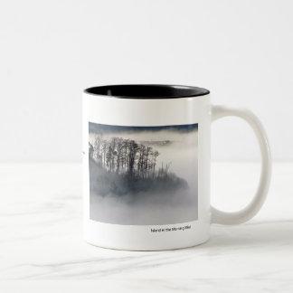 Isla en la niebla de la mañana taza de café de dos colores