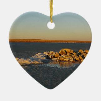 Isla en las praderas en Saskatchewan, Canadá Adorno Navideño De Cerámica En Forma De Corazón