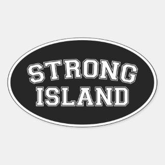 Isla fuerte, NYC, los E.E.U.U. Pegatina Ovalada