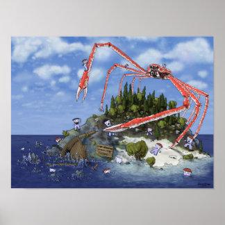 Isla gigante del cangrejo de araña que ataca póster