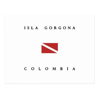 Isla Gorgona Colombia Scuba Dive Flag Postcard