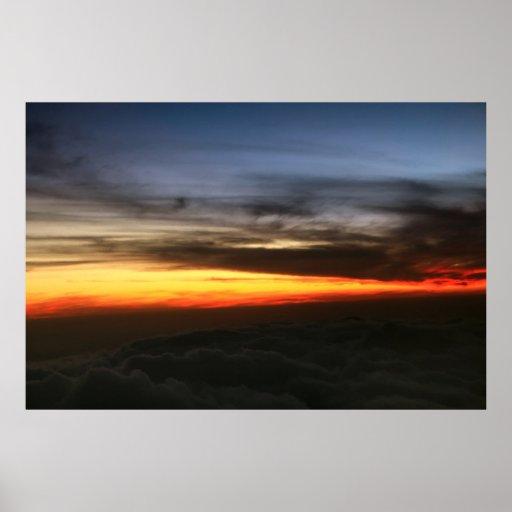 isla grande de la puesta del sol póster
