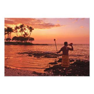 Isla grande, Hawaii. Puesta del sol, isla grande H Fotografías