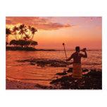 Isla grande, Hawaii. Puesta del sol, isla grande H Postales