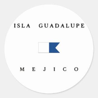 Isla Guadalupe Mejico Alpha Dive Flag Classic Round Sticker