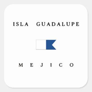 Isla Guadalupe Mejico Alpha Dive Flag Square Sticker