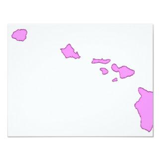 isla hawaiana rosada invitación 10,8 x 13,9 cm