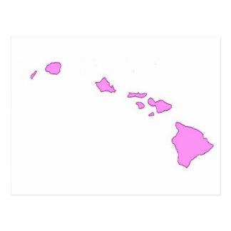 isla hawaiana rosada tarjetas postales