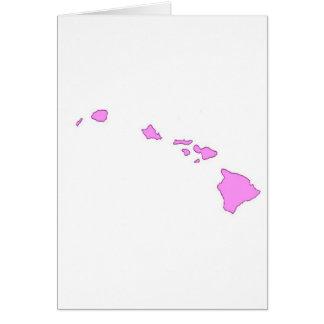isla hawaiana rosada tarjetón