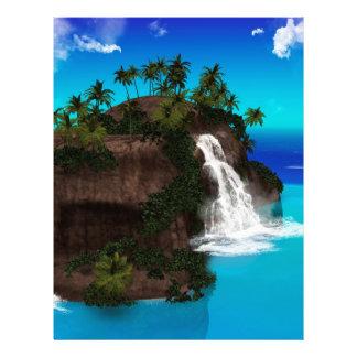 Isla hermosa con la cascada plantillas de membrete