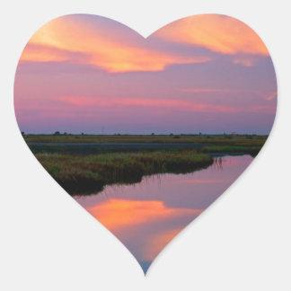 Isla la Florida de Merritt de la salida del sol Pegatina De Corazon