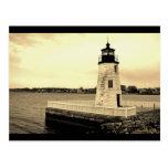 Isla Ligthhouse Newport, postal de la cabra de RI