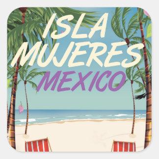 Isla Mujeres Mexico Beach poster Square Sticker
