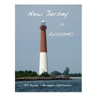 Isla New Jersey de Long Beach del faro de Barnegat Tarjetas Postales