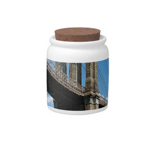 Isla Nueva York de Manhattan del puente de Brookly Jarra Para Caramelo