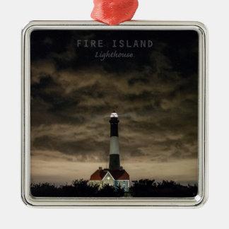 Isla NY. del fuego Adorno Cuadrado Plateado